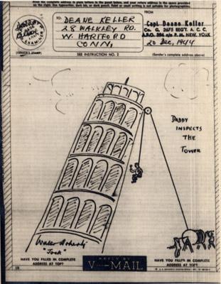 Deane Keller drawing - Leaning Tower of Pisa